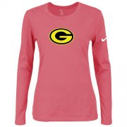 Wholesale Cheap Women's Nike Green Bay Packers Of The City Long Sleeve Tri-Blend NFL T-Shirt Pink-2