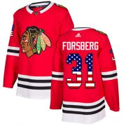 Wholesale Cheap Adidas Blackhawks #31 Anton Forsberg Red Home Authentic USA Flag Stitched NHL Jersey