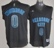 Wholesale Cheap Oklahoma City Thunder #0 Russell Westbrook All Black With Blue Fashion Jersey