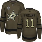 Cheap Adidas Stars #11 Andrew Cogliano Green Salute to Service Youth 2020 Stanley Cup Final Stitched NHL Jersey