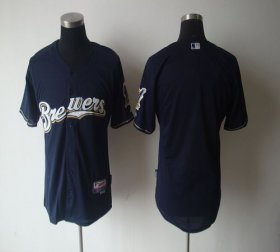 Wholesale Cheap Brewers Blank Blue Cool Base Stitched MLB Jersey