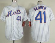 Wholesale Cheap Mets #41 Tom Seaver White(Blue Strip) Home Cool Base Stitched MLB Jersey