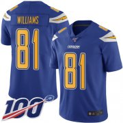 Wholesale Cheap Nike Chargers #81 Mike Williams Electric Blue Men's Stitched NFL Limited Rush 100th Season Jersey