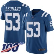 Wholesale Cheap Nike Colts #53 Darius Leonard Royal Blue Youth Stitched NFL Limited Rush 100th Season Jersey