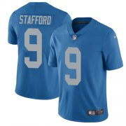 Wholesale Cheap Nike Lions #9 Matthew Stafford Blue Throwback Men's Stitched NFL Vapor Untouchable Limited Jersey