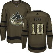 Wholesale Cheap Adidas Canucks #10 Pavel Bure Green Salute to Service Youth Stitched NHL Jersey