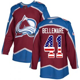 Wholesale Cheap Adidas Avalanche #41 Pierre-Edouard Bellemare Burgundy Home Authentic USA Flag Stitched NHL Jersey