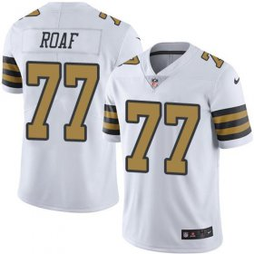 Wholesale Cheap Nike Saints #77 Willie Roaf White Men\'s Stitched NFL Limited Rush Jersey