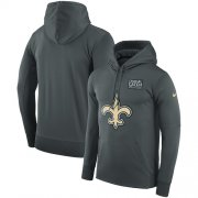 Wholesale Cheap NFL Men's New Orleans Saints Nike Anthracite Crucial Catch Performance Pullover Hoodie