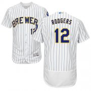 Wholesale Cheap Brewers #12 Aaron Rodgers White Strip Flexbase Authentic Collection Stitched MLB Jersey