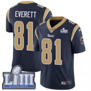 Wholesale Cheap Nike Rams #81 Gerald Everett Navy Blue Team Color Super Bowl LIII Bound Men's Stitched NFL Vapor Untouchable Limited Jersey