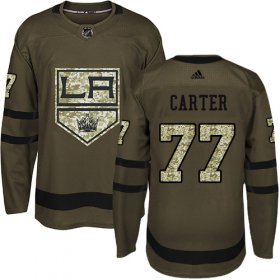 Wholesale Cheap Adidas Kings #77 Jeff Carter Green Salute to Service Stitched Youth NHL Jersey