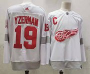 Wholesale Cheap Men's Detroit Red Wings #19 Steve Yzerman White Adidas 2020-21 Alternate Authentic Player NHL Jersey