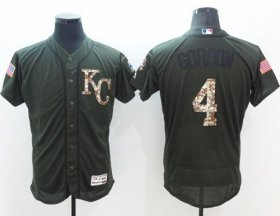 Wholesale Royals #4 Alex Gordon Green Flexbase Authentic Collection Salute to Service Stitched Baseball Jersey
