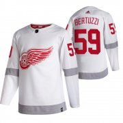 Wholesale Cheap Detroit Red Wings #59 Tyler Bertuzzi White Men's Adidas 2020-21 Reverse Retro Alternate NHL Jersey