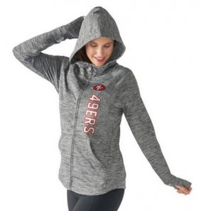 Wholesale Cheap Women\'s NFL San Francisco 49ers G-III 4Her by Carl Banks Recovery Full-Zip Hoodie Heathered Gray