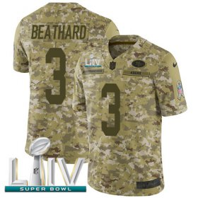 Wholesale Cheap Nike 49ers #3 C.J. Beathard Camo Super Bowl LIV 2020 Youth Stitched NFL Limited 2018 Salute To Service Jersey