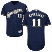 Wholesale Cheap Brewers #11 Mike Moustakas Navy Blue Flexbase Authentic Collection Stitched MLB Jersey