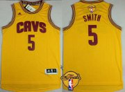 Wholesale Cheap Men's Cleveland Cavaliers #5 J.R. Smith 2015 The Finals New Yellow Jersey