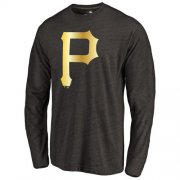 Wholesale Cheap Pittsburgh Pirates Gold Collection Long Sleeve Tri-Blend T-Shirt Black