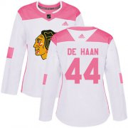 Wholesale Cheap Adidas Blackhawks #44 Calvin De Haan White/Pink Authentic Fashion Women's Stitched NHL Jersey