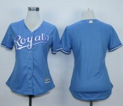 Wholesale Cheap Royals Blank Light Blue Alternate 1 Women's Stitched MLB Jersey