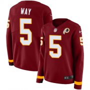 Wholesale Cheap Nike Redskins #5 Tress Way Burgundy Team Color Women's Stitched NFL Limited Therma Long Sleeve Jersey