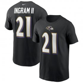 Wholesale Cheap Baltimore Ravens #21 Mark Ingram Nike Team Player Name & Number T-Shirt Black