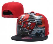 Wholesale Cheap Buccaneers Team Logo Red Black Adjustable Leather Hat TX