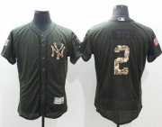 Wholesale Yankees #2 Derek Jeter Green Flexbase Authentic Collection Salute to Service Stitched Baseball Jersey
