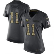 Wholesale Cheap Nike Giants #11 Phil Simms Black Women's Stitched NFL Limited 2016 Salute to Service Jersey