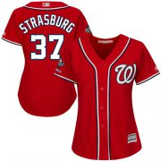 Wholesale Cheap Nationals #37 Stephen Strasburg Red Alternate 2019 World Series Champions Women's Stitched MLB Jersey