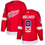 Wholesale Cheap Adidas Red Wings #8 Justin Abdelkader Red Home Authentic USA Flag Stitched Youth NHL Jersey