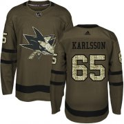 Wholesale Cheap Adidas Sharks #65 Erik Karlsson Green Salute to Service Stitched Youth NHL Jersey