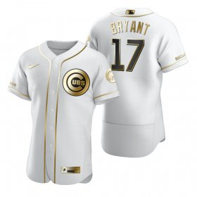 Wholesale Cheap Chicago Cubs #17 Kris Bryant White Nike Men\'s Authentic Golden Edition MLB Jersey