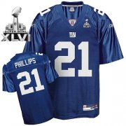 Wholesale Cheap Giants #21 Kenny Phillips Blue Super Bowl XLVI Embroidered NFL Jersey