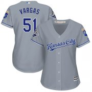 Wholesale Cheap Royals #51 Jason Vargas Grey Road Women's Stitched MLB Jersey