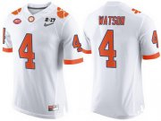 Wholesale Cheap Men's Clemson Tigers #4 Deshaun Watson White 2017 Championship Game Patch Stitched CFP Nike Limited Jersey