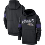Wholesale Cheap Baltimore Ravens Nike Sideline Team Logo Performance Pullover Hoodie Black