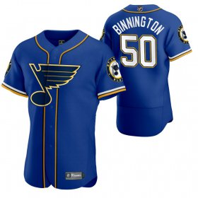 Wholesale Cheap St. Louis Blues #50 Jordan Binnington Men\'s 2020 NHL x MLB Crossover Edition Baseball Jersey Blue