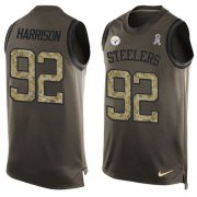 Wholesale Cheap Nike Steelers #92 James Harrison Green Men's Stitched NFL Limited Salute To Service Tank Top Jersey