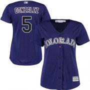 Wholesale Cheap Rockies #5 Carlos Gonzalez Purple Alternate Women's Stitched MLB Jersey