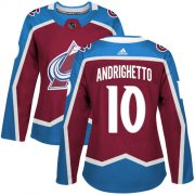 Wholesale Cheap Adidas Avalanche #10 Sven Andrighetto Burgundy Home Authentic Women's Stitched NHL Jersey