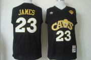 Wholesale Cheap Men's Cleveland Cavaliers #23 LeBron James 2015 The Finals CavFanatic Black Hardwood Classics Soul Swingman Throwback Jersey