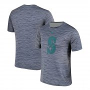 Wholesale Cheap Nike Seattle Mariners Gray Black Striped Logo Performance T-Shirt