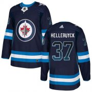 Wholesale Cheap Adidas Jets #37 Connor Hellebuyck Navy Blue Home Authentic Drift Fashion Stitched NHL Jersey