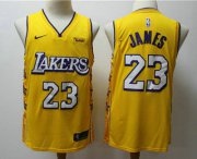 Wholesale Cheap Men's Los Angeles Lakers #23 LeBron James Yellow 2020 Nike City Edition Swingman Jersey With The Sponsor Logo