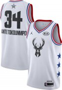 Wholesale Cheap Jordan Men's 2019 NBA All-Star Game #34 Giannis Antetokounmpo White Dri-FIT Swingman Jersey