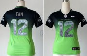 Wholesale Cheap Nike Seahawks #12 Fan Steel Blue/Green Women's Stitched NFL Elite Fadeaway Fashion Jersey