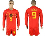 Wholesale Cheap Belgium #9 Lukaku Red Home Long Sleeves Soccer Country Jersey